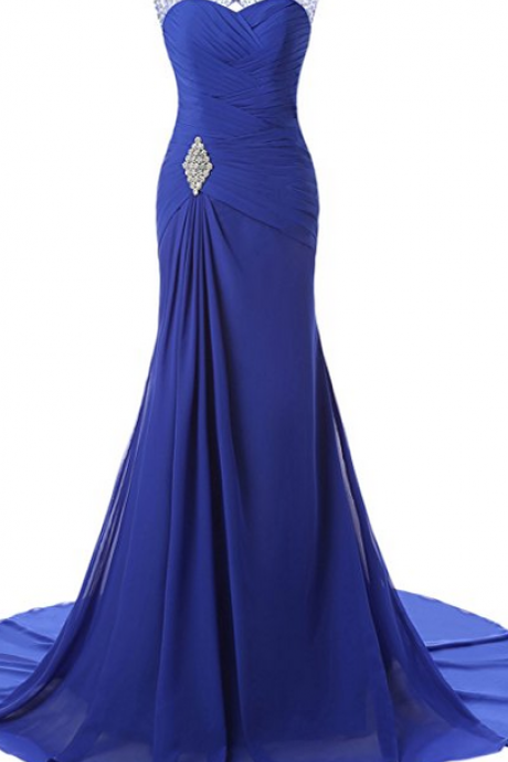 V Neck Ruffled Rhinestone Trim Prom Dress