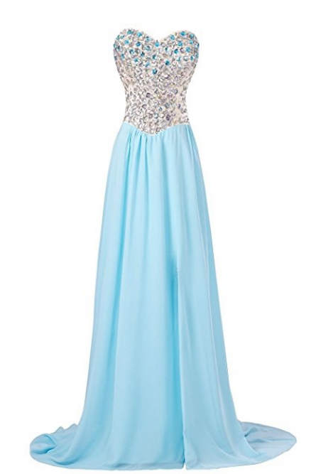 Strapless Rhinestones Slit Gown Bridesmaid Prom Evening Party Long Dress