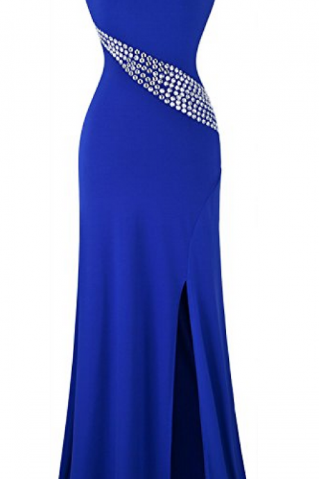 Hollow Out Rhinestones Single Shoulder Slit Long Dress