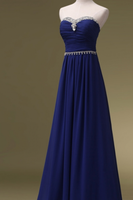 Prom Dress,Royal Blue Prom Dresses,Long Chiffon Bridesmaid Dresses,Long Evening Dresses,Strapless Evening Gowns,Beaded Formal Dress,Long Party Dresses,A-line Prom Dress,Cheap Prom Dresses,Prom Dresses