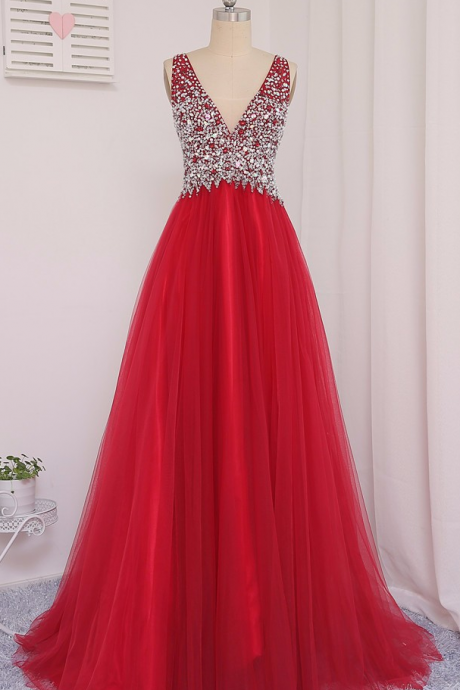 Prom Dress,Long Prom Dresses,tulle Prom Dress,Red A-Line V-Neck Floor-Length Beaded Crystal Prom Dresses Vestido De Festa Evening Gowns