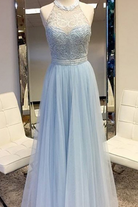 Prom Dress,Long Prom Dresses,tulle Prom Dress, Elegant Round Neck Sleeveless Floor Length Silver Prom Dress with Lace Beading