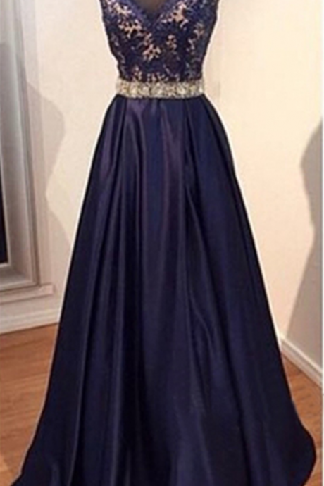 long prom dress, navy prom dress, party prom dress, taffeta prom dress, cheap prom dress