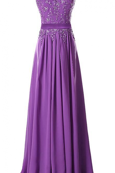 Aubergine Evening Dress , Aubergine Prom Dress, A line Appliques Chiffon Long Dress ,Girls Dress ,Women Dress ,Long Dresses