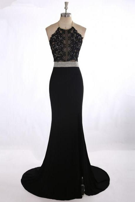 Prom Dress,Long Prom Dresses, Vestido Para Formatura Sexy See Through Black Lace Appliques Rhinestone Prom Dress