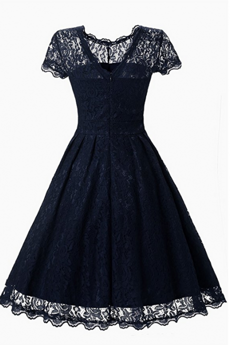 Floral Lace Prom Dresses Short Cap Sleeve Retro Vintage Swing Dress Cocktail Dresses