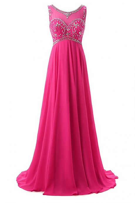 Sheer Neck Beading Chiffon Long Prom Dresses Evening Gowns