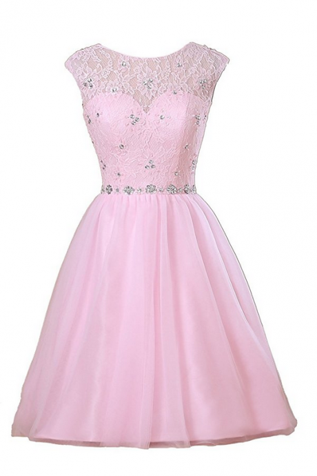 Sheer Neck Short Lace Prom Dresses Party Dresses with Rhinestones