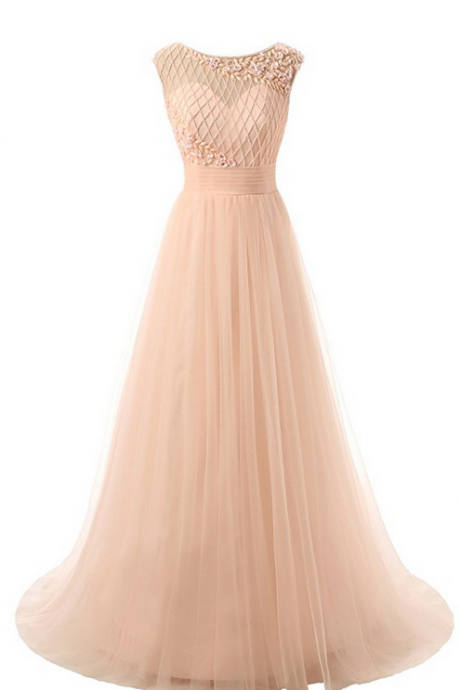 Sheer Neck Tulle Long Prom Dresses Evening Gowns with Rhinestones
