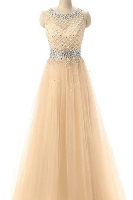 A-line Scoop Neck Floor Length Tulle Prom Dress with Beading Prom Dresses