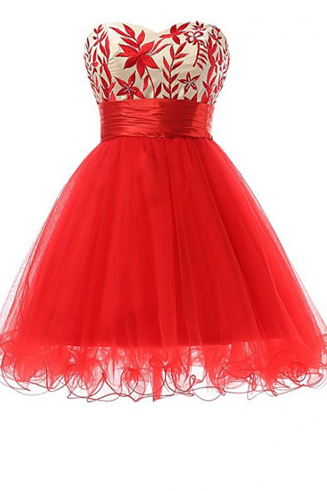 Elegant Short Sweetheart Tulle Homeoming Dresses