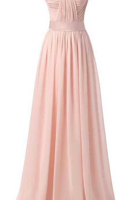 A-line Strapless Sweetheart Long Chiffon Bridesmaid Dresses