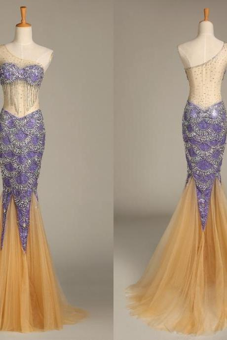 Actual Image One Shoulder Mermaid Prom Dresses with Crystals Sequins Sexy Sheer Trumpet Evening Gowns