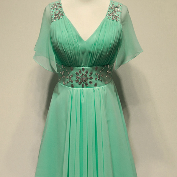Mint Green Chiffon Knee Length Homecoming Dresses, Homecoming Dress
