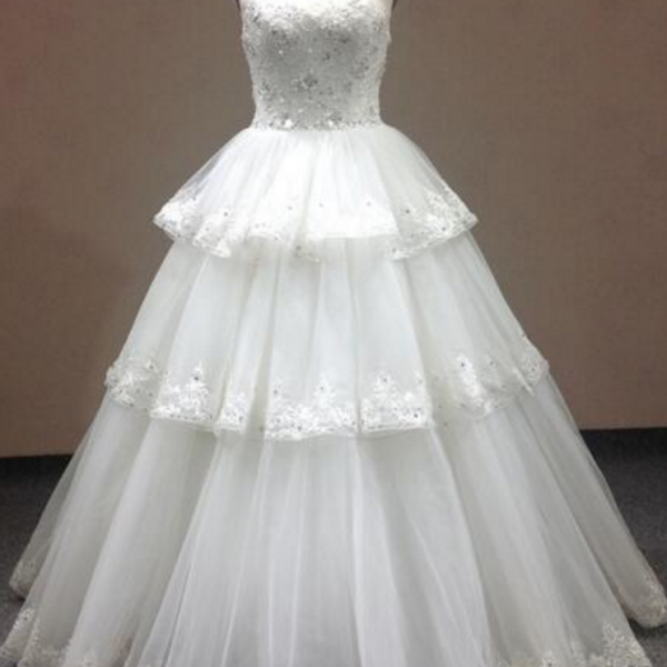 New Arrival Real Sample O-Neck Tierad Lace&Tulle Wedding Dress Graceful De Novia Plus SIze