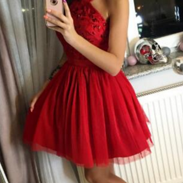 A-Line Cross Neck Short Red Tulle Homecoming Dress with Beading,Short Homecoming Dresses, Juniors Homecoming Dresses, Cheap Homecoming Dresses,Dresses For Homecoming
