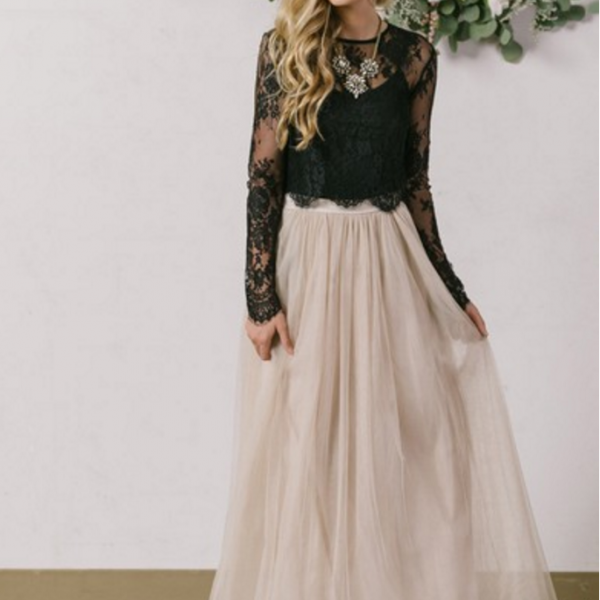 New Style A-line Scoop Neck Tulle Ankle-length Appliques Lace Long Sleeve Two Piece Prom Dresses