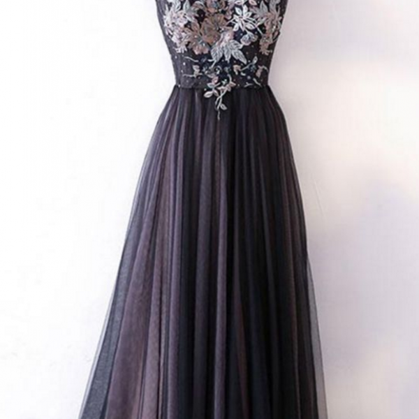 black tulle V neck long embroidery evening dress, long black pageant dress