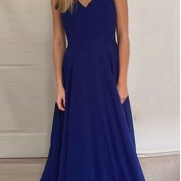 royal blue long prom dresses backless, fashion v-neck formal party dresses, elegant evening gowns