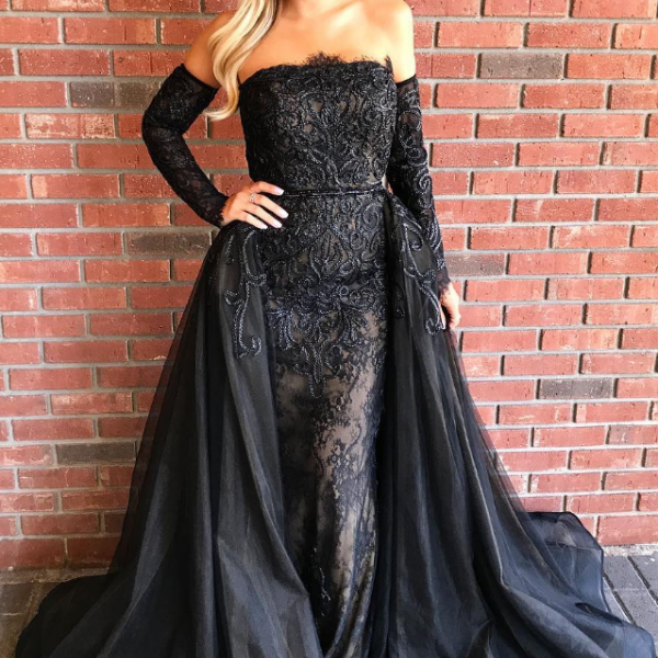 Strapless Sheath Prom Dress, Black Lace Prom Dress, Elegant Long Prom Dress with Separate Sleeves