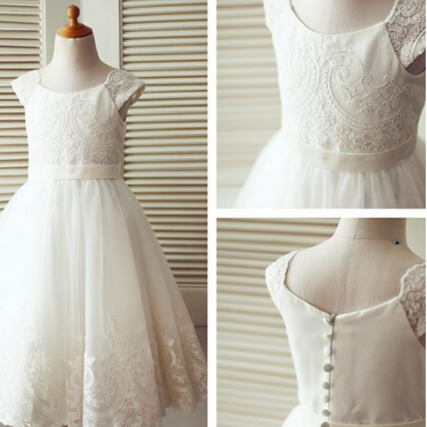 Ivory Flower Girl Dress with Lace Cap Sleeves
