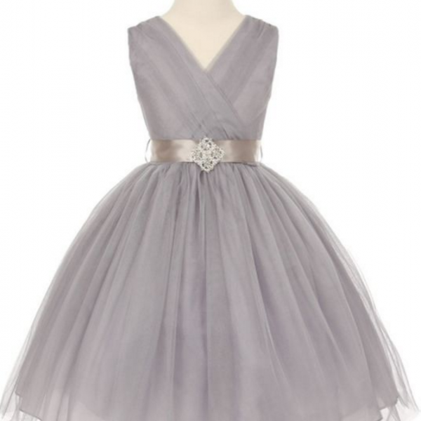 Silver Tulle V-Neck with Rhinestone Brooch Flower Girl Dress