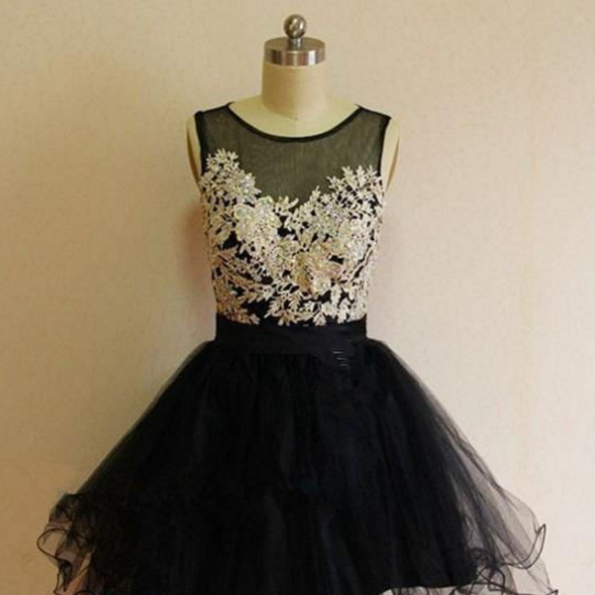 Handmade Short Lace Black Beautiful Classy Homecoming Dresses
