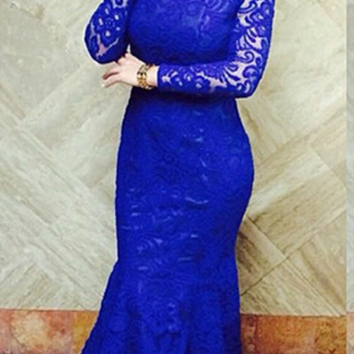 Mermaid Evening Dress Blackless Evening Dress Royal Blue Evening Dress Lace Evening Dress, Evening Dress Long Evening Dress With Fishtail Long Sleeves Evening Dress Back open Sexy Evening Dress