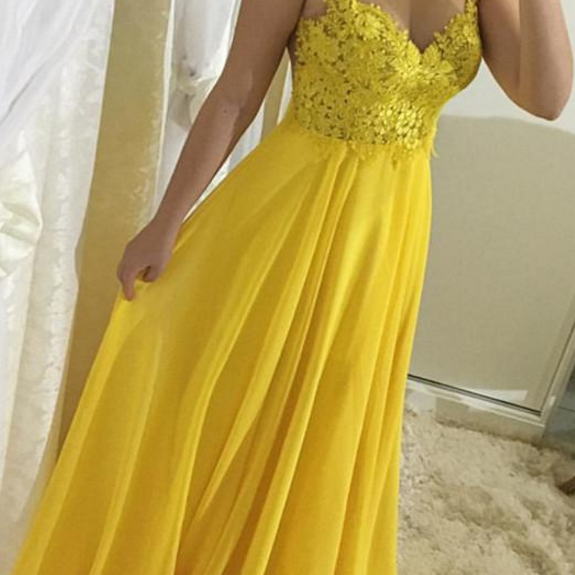 Yellow Lace and Chiffon Straps Prom Dresses , A-line Formal Gowns, Party Dresses