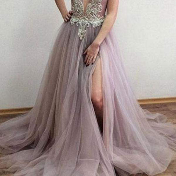 Charming Deep V-Neck Beaded Ball Gown Backless Prom Dress,Long Evening Dress,Long Prom Dresses,Prom Dresses ,