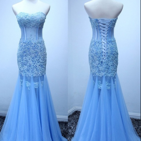 Real Made Mermaid Sexy Appliques Prom Dresses,Long Evening Dresses,Prom Dresses