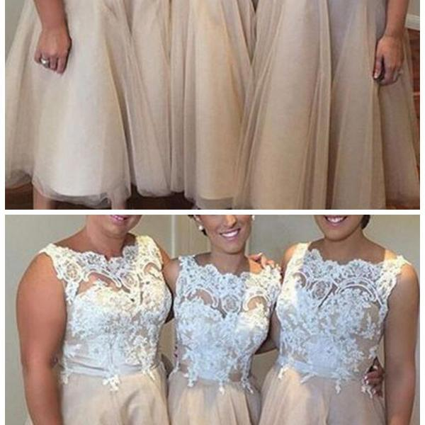 Iovry Lace Top Tulle Tea Length Affordable Bridesmaid Dresses for Wedding Party