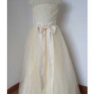 Cheap Floor Length Cream Color Lace Tulle Flower Girl Dress with Open Back