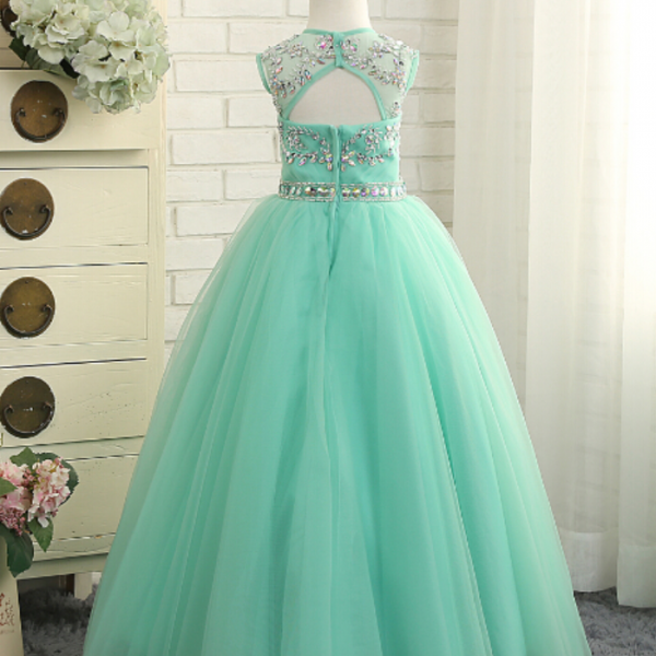 Beautiful Mint Green Flower Girl Dresses Beaded Tulle Baby Girl Prom Perform Perform Brithday Ball Gowns