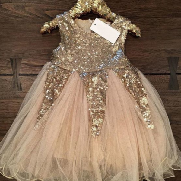 Flower Girl Dress Sequin Tulle Short girl clothing