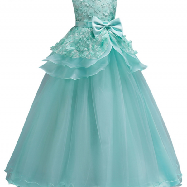 2018 Beautiful Mint Green Flower Girl Dresses Lace Flower Bow Kids Evening Gowns Ball Gown Pageant Dresses For Girls Glitz