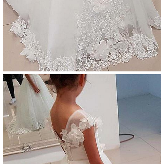 Tulle Jewel Neckine A-line Flower Girl Dresses With Lace Appliques