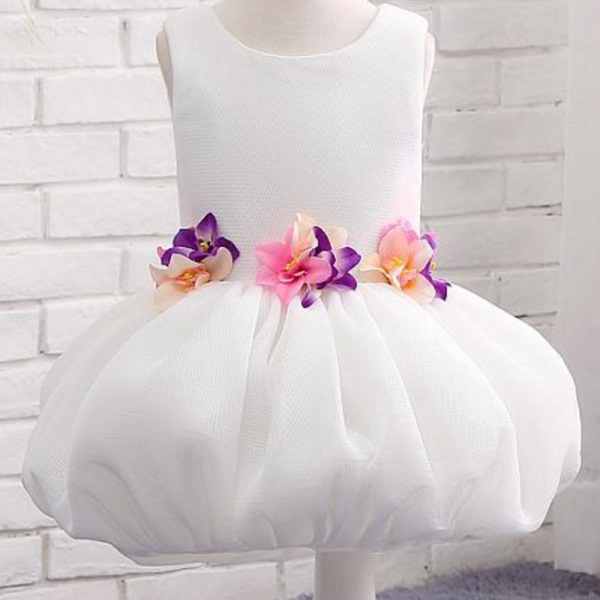 Tulle Scoop Neckline Ball Gown Flower Girl Dresses