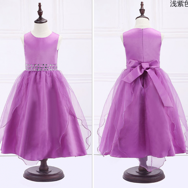 Crystal Purple Girl Birthday Wedding Party Formal Flower Girls Dress baby Pageant dresses 295