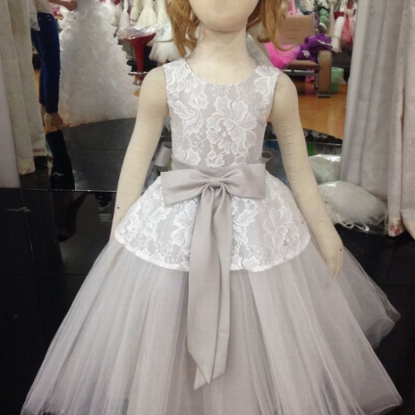 Flower Girl Dresses Children Birthday Dress Tulle Gray Lace Wedding Party Dresses ww57