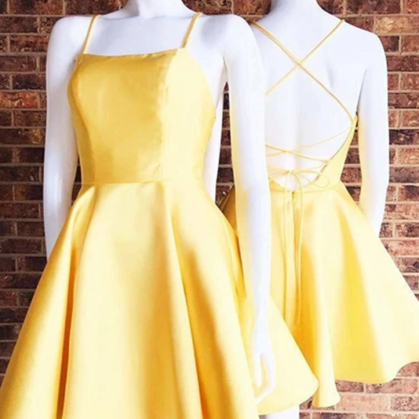 Sassy Wedding yellow mini evening dresses satin racer-back women dresses spaghetti-straps fashion dress a-line homecoming dress
