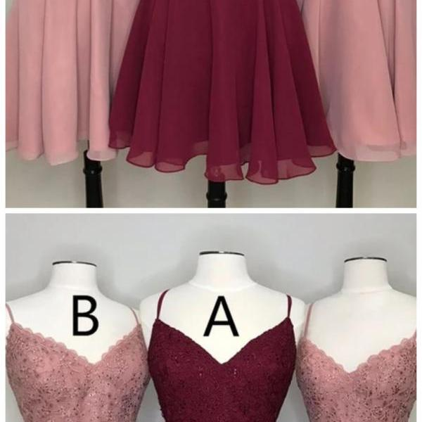 Sassy Wedding pink/burgundy sleeveless v-neck applique mini evening dress chiffon spaghetti-straps homecoming dress