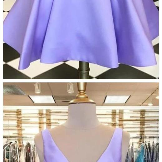 Sassy Wedding simple short purple v-neck mini evening dresses purple satin sleeveless homecoming dresses
