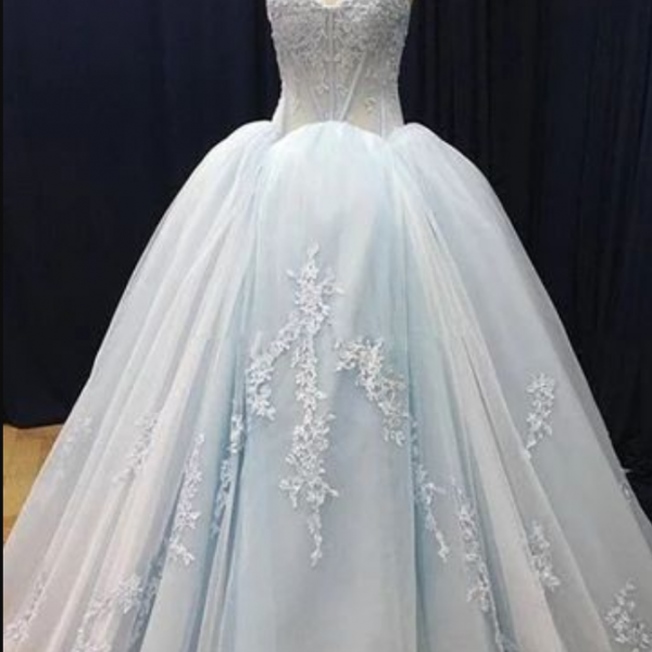 Blue tulle customize long V neck high waist evening dress