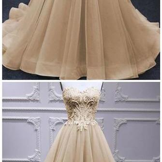 Sweetheart Champagne Tulle A Line Beaded Long Lace Pageant Dress