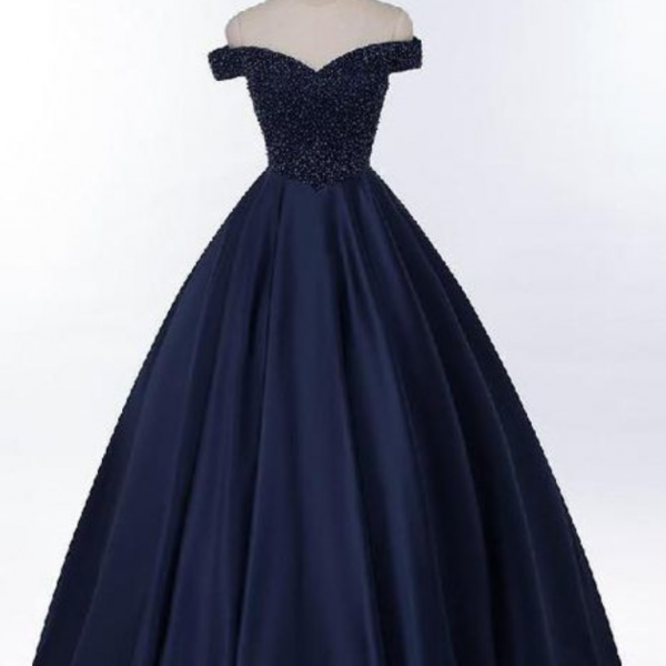 Off Shoulder Navy Blue Beaded A Line Long Evening dress