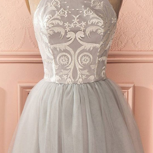 Cheap Sleeveless Silver Prom Homecoming Dresses Distinct Short A-line/Princess Pleated Backless Dresses