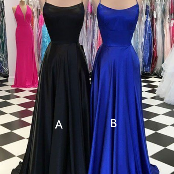 SIMPLE SATIN LONG PROM DRESS, LONG EVENING DRESS