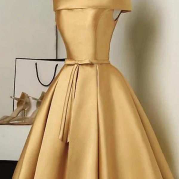 Cute Golden Satin Knee Length Off Shoulder Prom Dress, Short Homecoming Dress