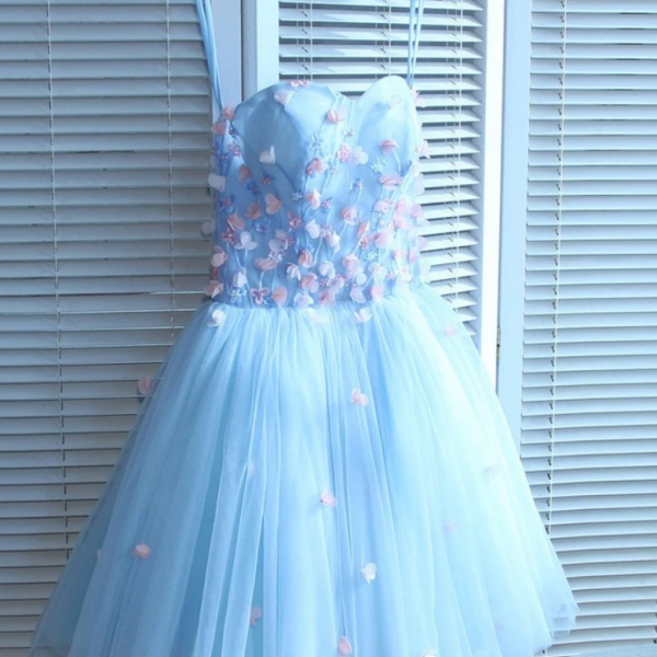 Sweetheart Short Handmade Party Dress, Blue Flowers Homecoming Dress